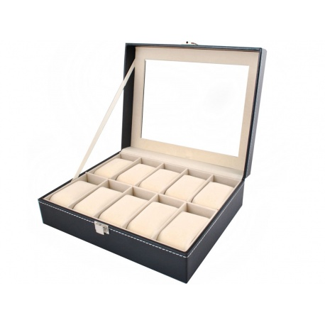 Organizer pudełko na biżuterię i zegarki kasetka 10 przegródek z szybką