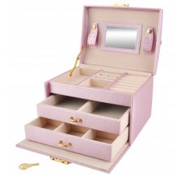 Organizer kuferek na biżuterię i zegarki kolczyki pierścionki kasetka pudełko