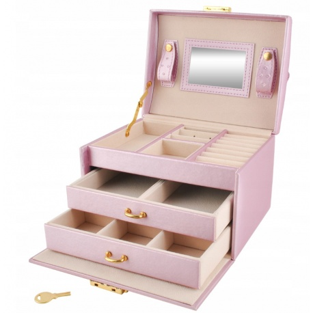 Organizer kuferek na biżuterię i zegarki kasetka pudełko na kolczyki pierścionki