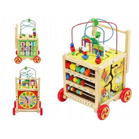 Multi zabawka drewniany wózek pchacz kostka edukacyjna tor 6w1 klocki