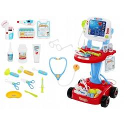 Zestaw małego lekarza wózek akcesoria lekarskie EKG doktor na baterie