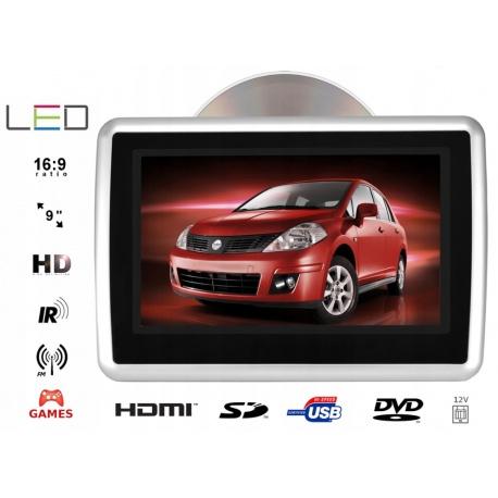 Monitor na zagłówek odtwarzacz DVD 9 cali HDMI USB SD FM GRY na 12V