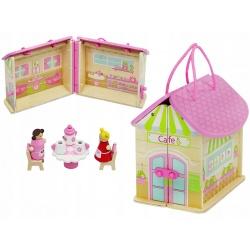 Domek drewniany dla lalek rozkładany z uchwytami kawiarnia figurki