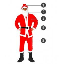 Kostium Mikołaj strój pasek czapka broda Mikołaja 5 elementów