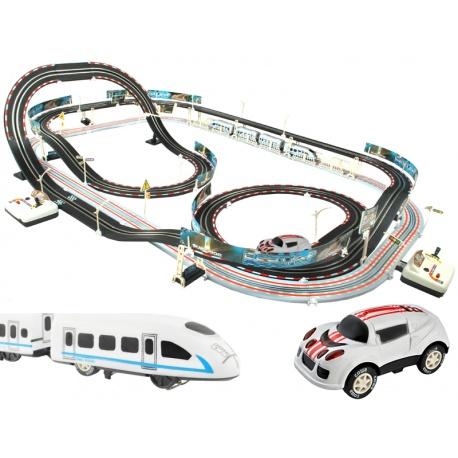 Duży tor samohcodowy wyścigowy kolejka elektryczna pociąg 630cm