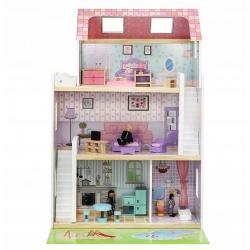 Drewniany domek dla lalek duży 86cm zestaw zabawki willa mebelki lalki