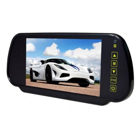 Ekran w lusterku samochodowym z matrycą o przekątnej 7 cali NVOX dwa wejścia AV automatyczne włączenie