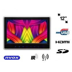 Przenośny odtwarzacz DVD 12' monitor na zagłówek LED HDMI HD SD USB IR FM
