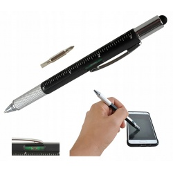 Długopis majsterkowicza wielofunkcyjny śrubokręt poziomica Multitool 6w1