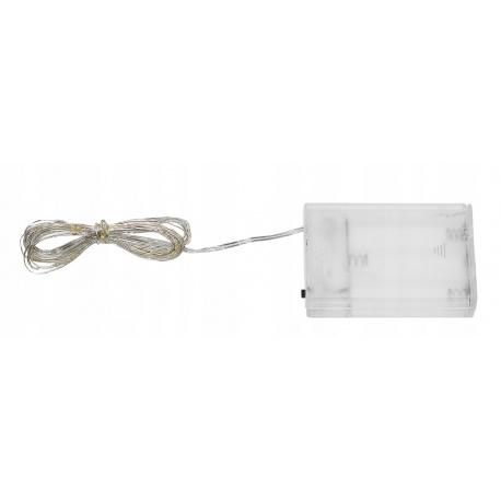 Lampki mikro ledowe 20 LED białe na baterie drucik dekoracyjne do kwiatów pokoju