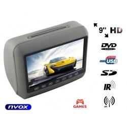 Zagłówek samochodowy z odtwarzaczem DVD LCD 9 cali USB/SD gry głośniki