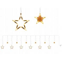 Kurtyna gwiazdy wiszące lampki na baterie sople 138 Led długość 4 metry