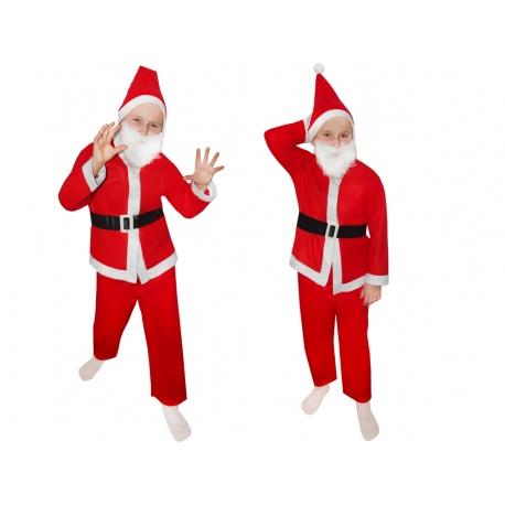 Strój kostium Święty MIKOŁAJ dla dzieci spodnie czapka broda pasek