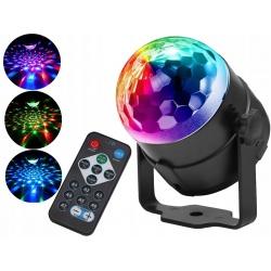 Kula dyskotekowa Led Ball Disco Laser Rgb czujnik dźwięku pilot