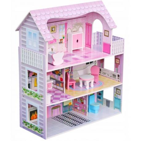 Drewniany domek dla lalek Ricokids zestaw zabawki mebelki 70 x 62 x 27 cm
