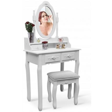 Toaletka kosmetyczna z lustrem i taboretem biała Stello szuflady