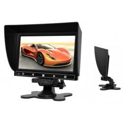 Monitor samochodowy 7 cali do podgladu z kamery cofania 2x wejście video 4PinQuad