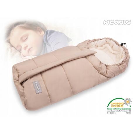 Śpiworek dziecięcy ocieplany 85 x 40 cm do wózka gondoli na sanki beżowy
