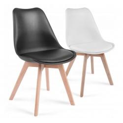 Krzesło skandynawskie oparcie tworzywo miękkie siedzisko i dębowe nogi