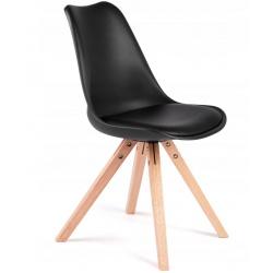 Krzesło skandynawskie do kuchni miękkie siedzisko dębowe nogi 2 kolory