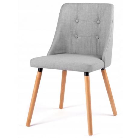 Krzesło skandynawskie tapicerowane siedzisko oparcie drewniane nogi szare