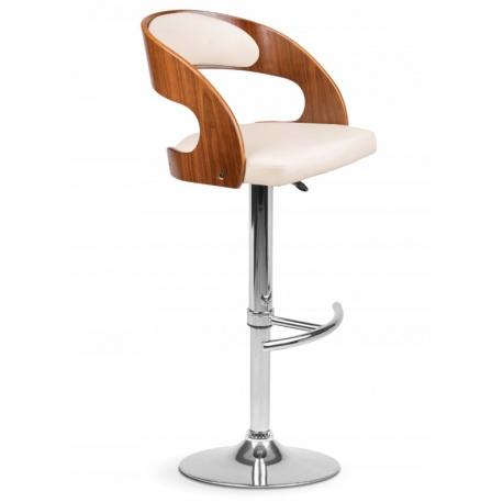 Hoker barowy wysokie krzesło z oparciem drewno chrom ekoskóra