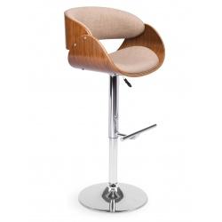 Wysoki prestiżowy hoker barowy krzesło z oparciem drewno chrom tapicerka