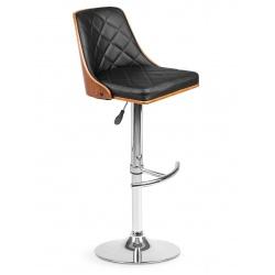 Hoker barowy wysokie krzesło z oparciem drewno chrom czarna ekoskóra