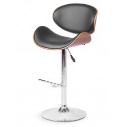 Hoker obrotowy wysokie krzesło barowe z wyprofilowanym oparciem drewno