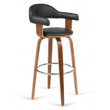 Hoker barowy krzesło obrotowe na 4 nogach z oparciem i podłokietnikami