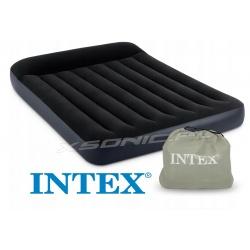 Materac welurowy z zagłówkiem i pompką 191 x 137 x 23 cm INTEX 66780