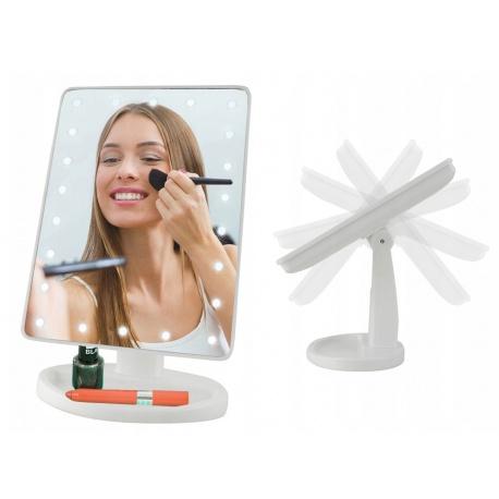 Podświetlane lusterko kosmetyczne ze ściemniaczem LED stojące do makijażu