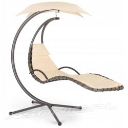 Leżak wiszący z parasolem bujany fotel na stelażu huśtawka ogrodowa z poduszkami