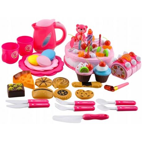 Tort urodzinowy do krojenia 80 elementów zabawka czajnik filiżanki