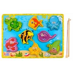 Gra drewniana łowienie rybek na magnes wędka rybki układanka zwierzątka morskie