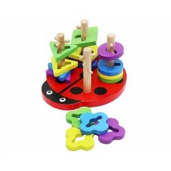 Sorter drewniana biedronka układanka logiczna zręcznościowa dla dzieci