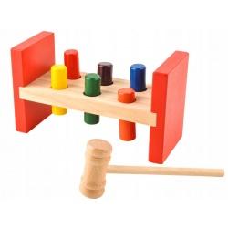 Klocki drewniane dla dzieci drewniana zręcznościowa zbijak tłuczek młoteczek