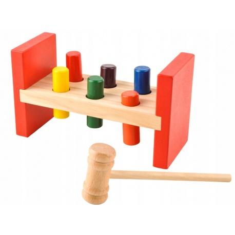 Gra dla małych dzieci drewniana zręcznościowa zbijak tłuczek młoteczek