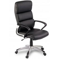 Fotel biurowy z podłokietnikami obrotowy skórzany podstawa na kółkach czarny