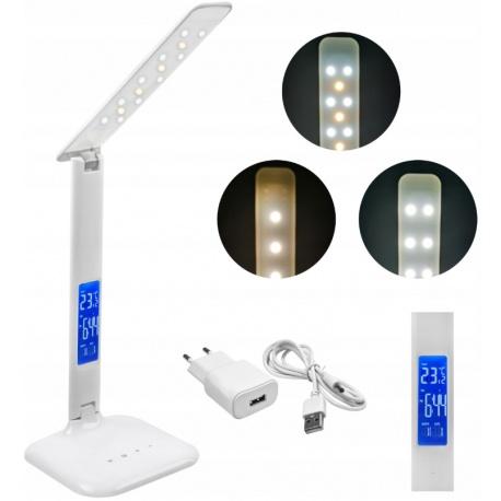 Lampka biurkowa LED z wyświetlaczem LCD termometr zegar budzik