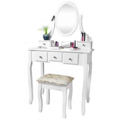 Toaletka kosmetycznaz szufladami i lustrem taboret biała do sypialni