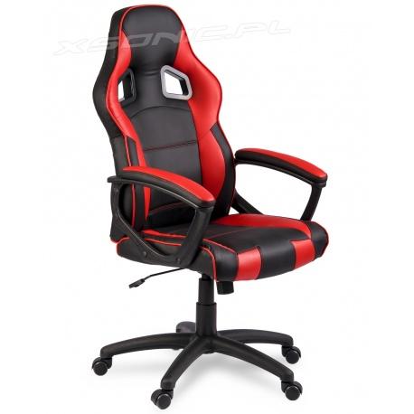 Gamingowy fotel ogrotowy dla gracza kubełkowy ROMUS czarno czerwony