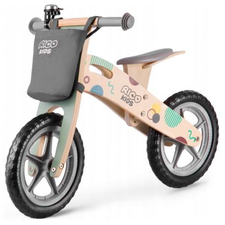 Drewniany rowerek biegowy dla dzieci Ricobike RC-610 z torbą koła 12 cali