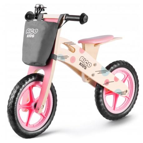 Drewniany rowerek biegowy różowy Ricobike z torbą koła 12 cali