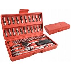 Zestaw narzędzi klucze nasadowe imbusy 46 elementów grzechotka