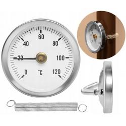 Termometr tarczowy stalowy na rurę okrągły opaskowy 120C sprężynkowy