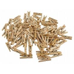 Małe klamerki drewniane 2,5cm mini spinacze żabki komplet 100 sztuk