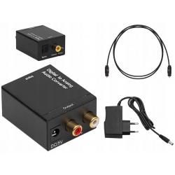 Konwerter optyczny sygnału audio Toslink coaxial na 2x Chinch RCA