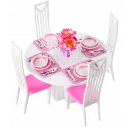 Jadalnia zestaw mebli meble dla lalki lalek stół krzesła zastawa 47 elementów