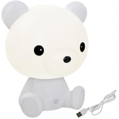 Lampka nocna dla dzieci biały miś misiu 25cm 3 tryby jasności LED